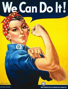 This poster was used in the United States during WWII to motivate women that they can take over they can be the workforce of the U.S. with the men off in battle. Women had to leave their homes and fill in the jobs their husbands or male relatives left because they were drafted into the war. This poster looks to persuade women to thinking they can work at these vacant jobs.