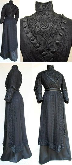 Braidwood or Sydney, Australia, ca. 1908-12. Black silk satin lace. Boned fitted inner bodice w/full-length sleeves; outer bodice (magyar style, slightly looser fit), w/elbow-length sleeves. Bodice has V-shaped front back section enclosing heavily embroidered cotton net lace. Same lace on lower sleeves collar. Simpler lace design on over-bodice. High boned collar. A-line skirt (replica) w/shorter, shaped hemline lace skirt on top. Griffith Pioneer Park Museum via Australian Dress Register