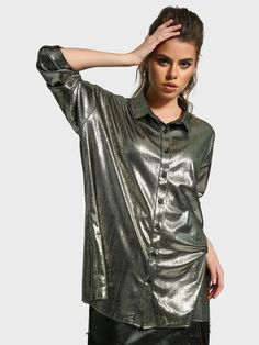 Buy Missguided Grey Metallic Longline Oversized Shirt for Women Online in India Oversized Shirt, Grey Shirt, Long A Line, Missguided, Night Out, Sequin Skirt, Metallic, Mini Skirts, India