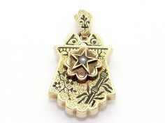 Vintage Victorian Ornate 10kt Gold Pearl Enamel Charm Locket Pendant Necklace