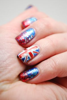 Navy base with union jack british flag nail art by esnail union jack nails prinsesfo Image collections