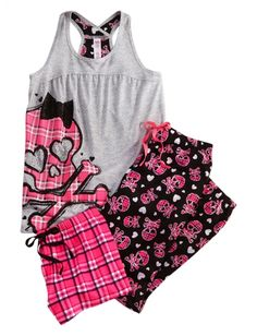 Plaid Skull 3 Piece Pajama Set | Girls Pajamas Clothes | Shop Justice