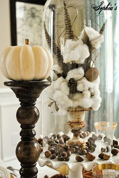 Rustic Glam Thanksgiving Table Setting Love the white pumpkin on the dark candle holder