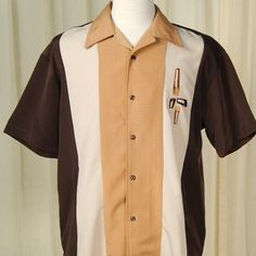 d608066b5 Eames Triple Tone Bowling Shirt. 50s Style MenGreaser StyleRetro ...