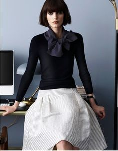 add a silk collar to fitted black sweater (refashion) I wonder if I could make this happen with a black top over my white dress. Add a belt?
