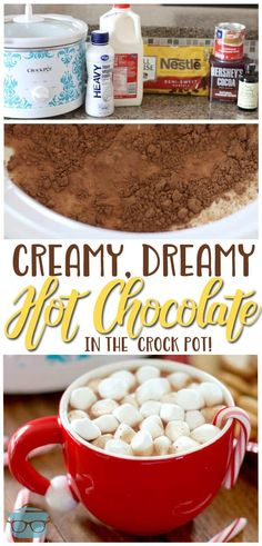 Creamy, Dreamy Hot Chocolate– This delicious recipe starts in the crock pot, making it so easy! You literally just dump everything into the crock pot [. Creamy Hot Chocolate Recipe, Crockpot Hot Chocolate, Homemade Hot Chocolate, Hot Chocolate Bars, Hot Chocolate Recipes, Easy Crock Pot Hot Chocolate Recipe, Cocoa Recipes, Dessert Chocolate, Chocolate Chips