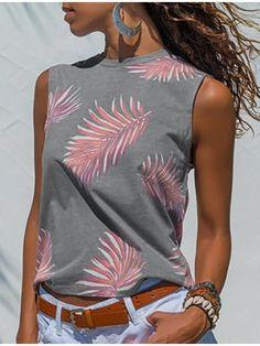 Women's O-neck Leaf Print Sleeveless Tops Summer Tank T-Shirt  Fashion Casual Female Clothes - M Blue