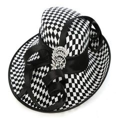 Elegant-Fancy Ladies  Satin Dress Hat Church Hat for Women Black White  Checkers f4ba4167e405