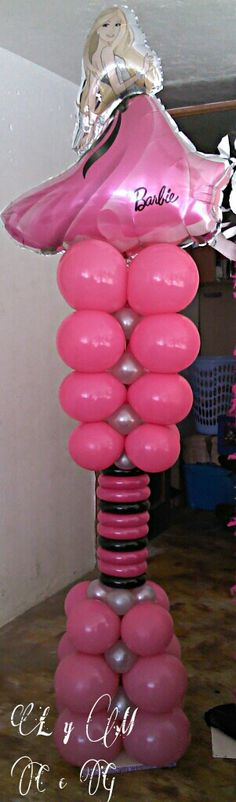 Balloon column Balloon Tower, Balloon Stands, Balloon Display, Love Balloon, Balloon Columns, Balloon Arch, Barbie Birthday Party, Girls Birthday Party Themes, Barbie Party