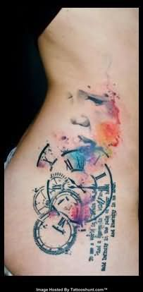 Abstract Water Color Clock Tattoos On Side Rib