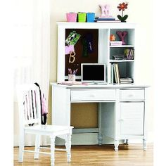 White Desk with Hutch and Chair Wood Kids Teen Computer Office Dorm Furniture