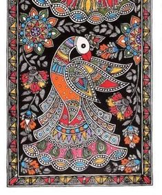Madhubani Painting - A Peacock at Rs 3000 /piece Madhubani Paintings Peacock, Kalamkari Painting, Madhubani Art, Indian Art Paintings, Gond Painting, Mural Painting, Fabric Painting, Mandala Art Lesson, Indian Folk Art