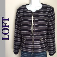 LOFT Striped Boucle Jacket This LOFT jacket is perfect for early Spring. The Boucle weave gives texture yet is lightweight. This is navy and slate blue stripes. Zip front with two zip pockets on the front. Fully lined. See photos for fabric content. Great condition. 229201630 LOFT Jackets & Coats Blazers