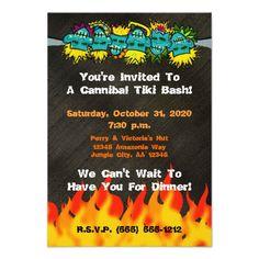 Shop Cannibal Tiki Bash Headhunter Style Party - Invitation created by floppypoppygifts. Tiki Party, Halloween Party Invitations, Party Themes, Party Ideas, Youre Invited, Party Fashion, White Envelopes, Smudging, Rsvp
