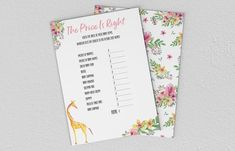 Baby Shower Games - Giraffe - The Price Is Right Baby Games, Baby Shower Games, Baby Shower Giraffe, Etsy Store, Daddy, Girly, Branding, Printables, Invitations