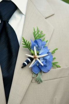 Beach Themed Boutonniere for the Groom + his Guys