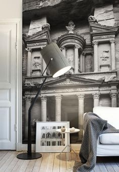 Petra Gate Grey Photo Wallpaper | Mr Perswall UK
