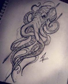 hippie tattoo 504966176968028059 - Hand drawn Octopus Source by Octopus Tattoo Sleeve, Kraken Tattoo, Octopus Tattoo Design, Octopus Tattoos, Sleeve Tattoos, Tattoo Designs, Cthulhu Tattoo, Irezumi Tattoos, Tatuajes Tattoos