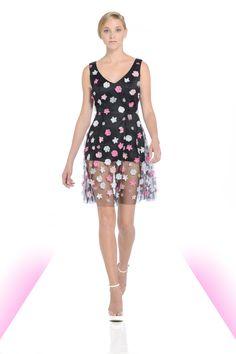 Black tulle dress with beaded flowers.   #flowers #sheer #tulle #michaeldepaulo #spring