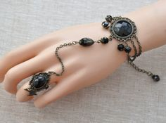 Victorian slave bracelet Braclet whit ring Gothic by Blackpassion