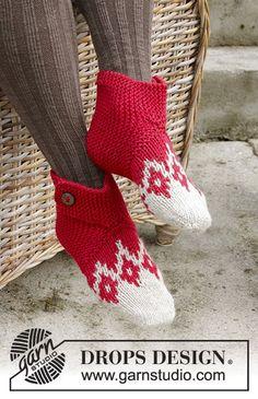 Chaussons avec jacquard nordique et point mousse pour Noël, tricotés à partir de la pointe, en DROPS Nepal. Du 35 au 42 Modèle gratuit de DROPS Design.
