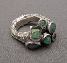 gorgeous uncut emerald ring