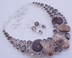 141 gram stunning AMMONITE FOSSILE-SMOKY .925 sterling silver handmade  necklace with earring  free shipping by OCEANJEWELLERS on Etsy