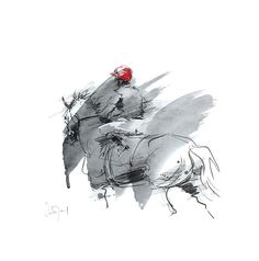 Rouge, Limited Edition Horse Racing Print by French Equestrian Artist Hubert de Watrigant