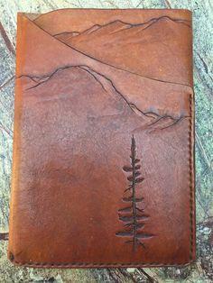 Custom Tooled Leather iPad Mini Sleeve Mountain by AWLeatherCo