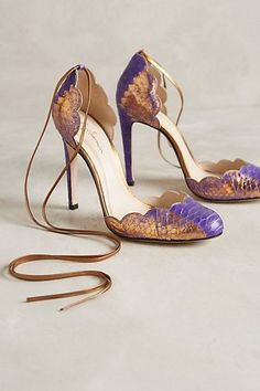 Guilhermina Scalloped Snakeskin Heels #anthropologie $478 But can i get ones not made from real Python, please? thank you