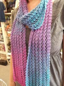 This gorgeous Spring scarf is knitted using the stunning Katia Degrade sun 100% Egyptian cotton yarn. Easy knit.  Kit includes yarn and pattern.  Purple/pink colourway pictured available.This shade will be sent unless other degrade colour requested.