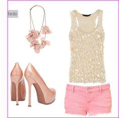 Pink shorts, sparkle tank