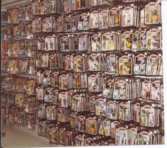 If Doc Brown shows up to my house I think I know what year I would pick. These racks are just unreal. Kenner Toys Games Remember This Plastic Crack Star Wars Blythe Littlest Pet Shop Real Ghostbusters Nostalgia Fun Star Wars Toys, Star Wars Art, Gi Joe, Jouet Star Wars, Nostalgia, Star Wars Merchandise, Toy Display, Star Wars Action Figures, Cultural