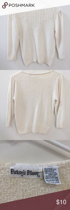 Women's Sweater Top Cream-colored sweater for women; ideal for fall/winter months. Tops Sweatshirts & Hoodies