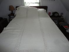 Knit Afghan Off White Throw Blanket Coverlet Bedspread Vintage Handmade