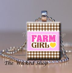 Scrabble Tile Pendant  Farm Girl  Brown/Pink     by TheWickedShop, $8.95