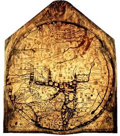 Hereford Mappa Mundi 1300 CE  This is one of the earliest T-O maps still surviving. It was made around 1300 CE and can be seen at the Hereford Cathedral in Hereford, England, UK