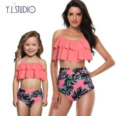 Mother and Daughter Swimsuit Mommy Swimwear Bikini sets Brachwear Clothes Look Mom Baby Dresses Clothing Family Matching Outfits Women's Swimsuits & Cover Ups, Cute Swimsuits, Women Swimsuits, Swimwear Fashion, Bikini Swimwear, Bikinis, Summer Swimwear, Bikini Fashion, Peplum Swimsuit