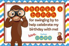 Curious George Birthday Thank You Card / Printable / Personalized on Etsy, $6.00