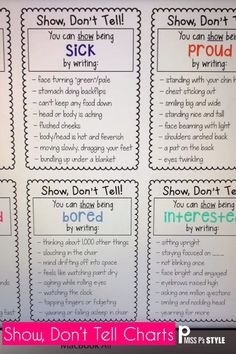 My students have such a hard time with adding description to their writing. These Show Don't Tell charts help elementary students to write with more expression, detail, description and to show action. Writing Strategies, Writing Lessons, Writing Resources, Teaching Writing, Writing Skills, Essay Writing, Writing Journals, Journal Writing Examples, Descriptive Writing Activities