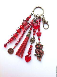 Купить Брелок-подвеска на сумку или ключи ярко красная с совой - ярко-красный, красный