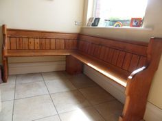 Church Pew Corner bench as a possibility for the Connect Room. It is narrow and doesn't take up much space but provides a lot of seating...  I bet we could get these donated. :)