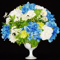 Silk Flower Arrangement, Blue Hydrangea & White Roses, White Vase, Spring Flower Arrangement, Silk Floral Arrangement, Artificial Flowers