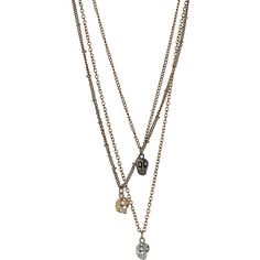 Skull Multirow Necklace ($28) ❤ liked on Polyvore featuring jewelry, necklaces, accessories, colares, mixed metal, multi strand necklace, layered chain necklace, multi chain necklace, multi row necklace and chain necklace