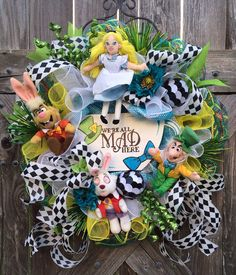 Everyday Wreath, Summer Wreath, Alice in Wonderland Party, Alice in Wonderland, Disney Wreath, Mad Hatter, We're All Mad Here on Etsy, $149.00