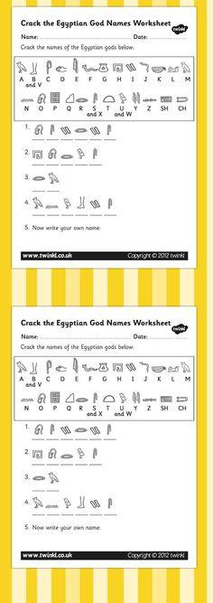 KS2 Ancient Egypt- Crack the Hieroglyphs Egyptian Gods Names Worksheets