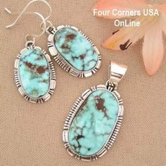 Dry Creek Turquoise Pendant Necklace Earring Set Larry Yazzie Four Corners USA OnLine Native American Indian Silver Jewelry NAN-1410