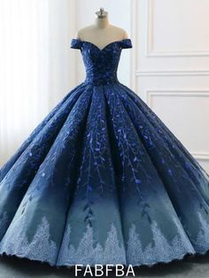 Navy Lace Applique Off Shoulder Ball Gown Princess Prom Dresses Source. - Navy Lace Applique Off Shoulder Ball Gown Princess Prom Dresses Source by dresses Source by SSherylBibeauShopStyle - Ombre Prom Dresses, Princess Prom Dresses, Unique Prom Dresses, Beautiful Prom Dresses, Long Wedding Dresses, Quinceanera Dresses, Pretty Dresses, Dress Prom, Dress Wedding
