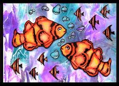 anjas-artefaktotum: Underwater love with Ryn Design stamps (Clown Fish, School of Fish Set and Rising Bubbles) and plastic wrap technique