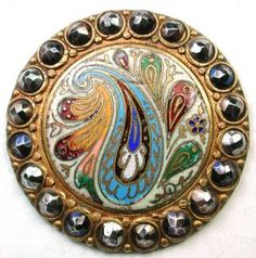 Lg Sz Antique French Enamel Button Colorful Paisley Design W/ Cut Steel Border photo
